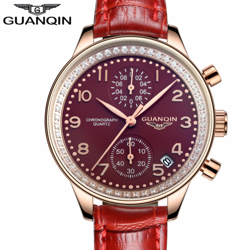 Prix pour GUANQIN Montres Femmes 2016 Nouveaux Bijoux De Luxe En Cuir Montre À Quartz Dames De Mode Casual Chronographe Date Horloge relogio feminino