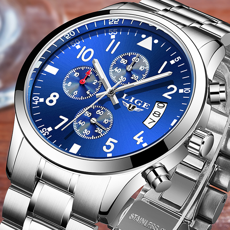 relogio masculino LIGE Mens Watches Top Brand Luxury Man Stopwatch Waterproof Sport Quartz Watch Men Full Steel Business Clock lige gold watch men new mens watches top brand luxury business clock man full steel fashion sport quartz watch relogio masculino