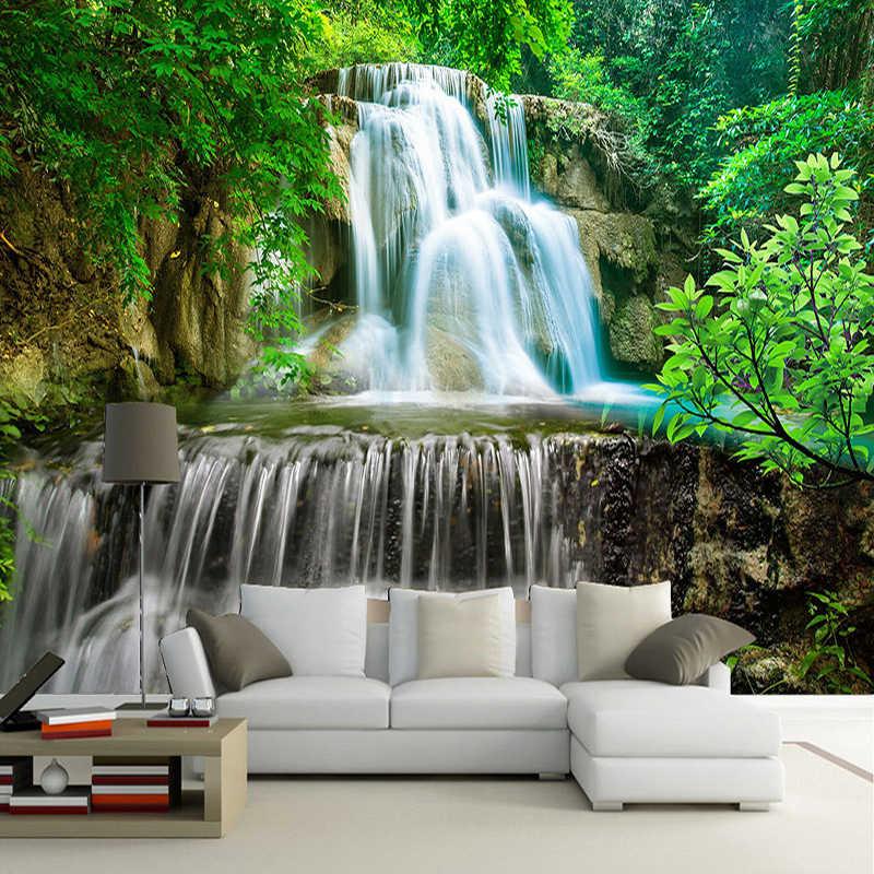 Kustom Dinding Mural Foto Kertas Dinding 3D Hijau Hutan Gambar Pemandangan Alam Lukisan Bukan Tenunan Jerami Bertekstur Wallpaper Mural
