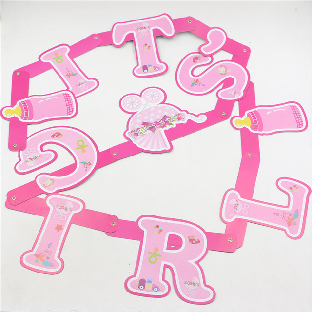 its a girl design pink banner hanging flag party supplies new born