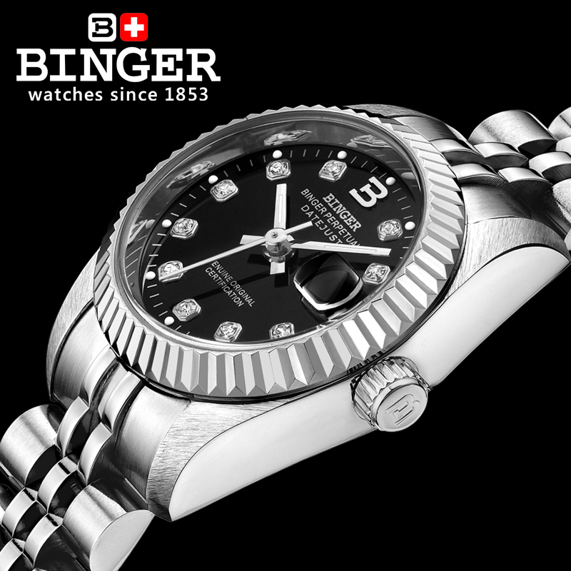 سويسرا المعصم BINGER 18K الذهب المرأة الساعات الذاتي الرياح التلقائي لف الميكانيكية المعصم BG 0375 2-في ساعات نسائية من ساعات اليد على  مجموعة 2
