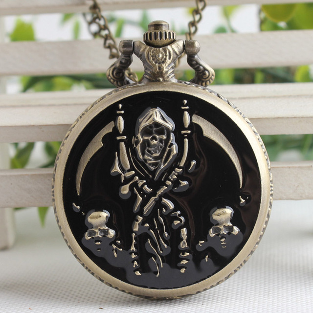 Cool Black & Bronze Pirate Skull Case Design Quartz Fob Pocket Watches with Neck