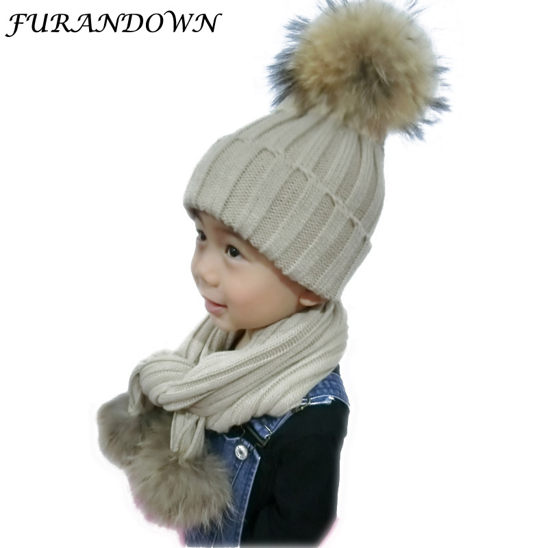 FURANDOWN kids Winter Scarf Hat Sets Children <font><b>Warm</b></font> Thick Stretchy Knit Beanie Pom Pom Hat Fur Caps