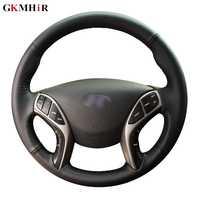 GKMHiR couverture de volant de voiture en cuir artificiel souple cousu à la main pour Hyundai Elantra 2011-2016 Avante i30 2012-2016 noir