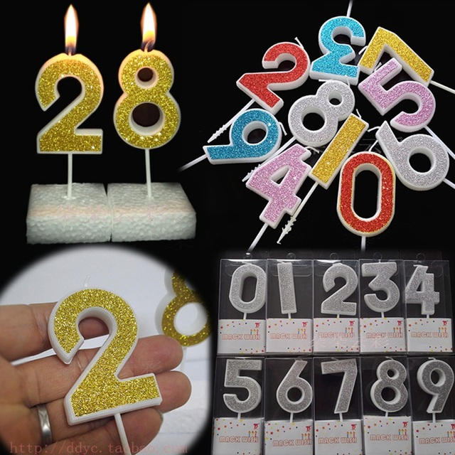 Birthday Number Candle 0 1 2 3 4 5 6 7 8 Gold Silver Pink Red For Party Supplies Decoration Kids Girl Boy Cake Candles