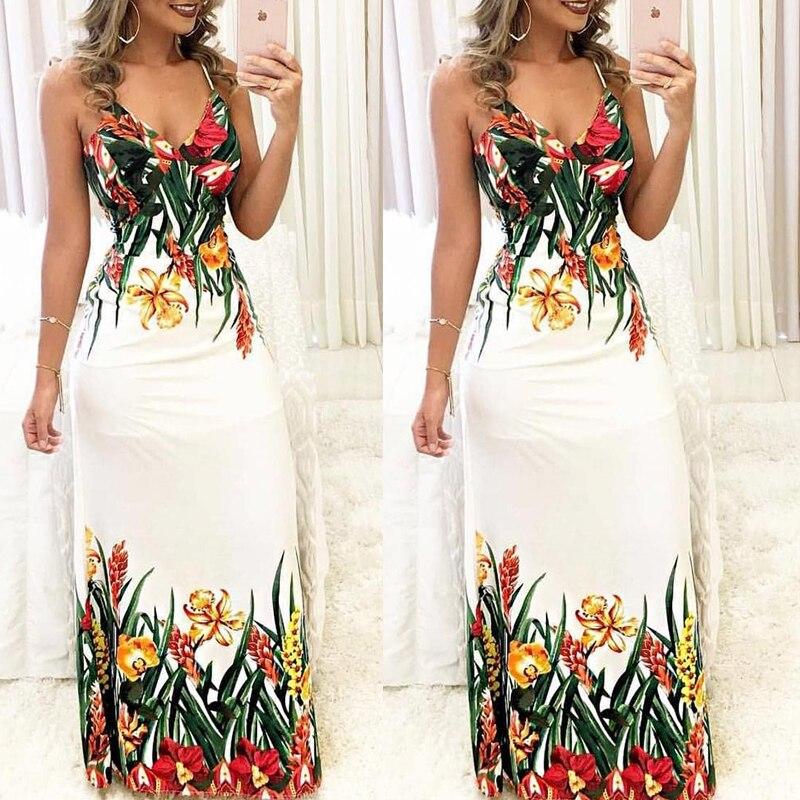 HTB1V7hvC25TBuNjSspcq6znGFXaa Fashion Women Summer Floral Sleeveless Strap V neck Boho Dress Casual Long Maxi Evening Party Beach Dress Sundress