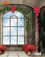 10X10ft Hand Painted Muslin Christmas Backgrounds For Photography Photo Studio Interior Decor Window Backdrop K2024