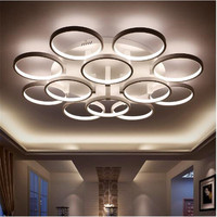 2017 Modern Arrival Circle Rings Designer Led Ceiling Lights Lamp For Living Room Bedroom Remote Control