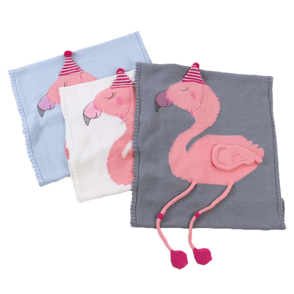 Knitting Baby Blanket Flamingos Knitted Infant Toddler Children Blanket  For Girls Boys Super Soft Stroller Baby Bedding Blanket