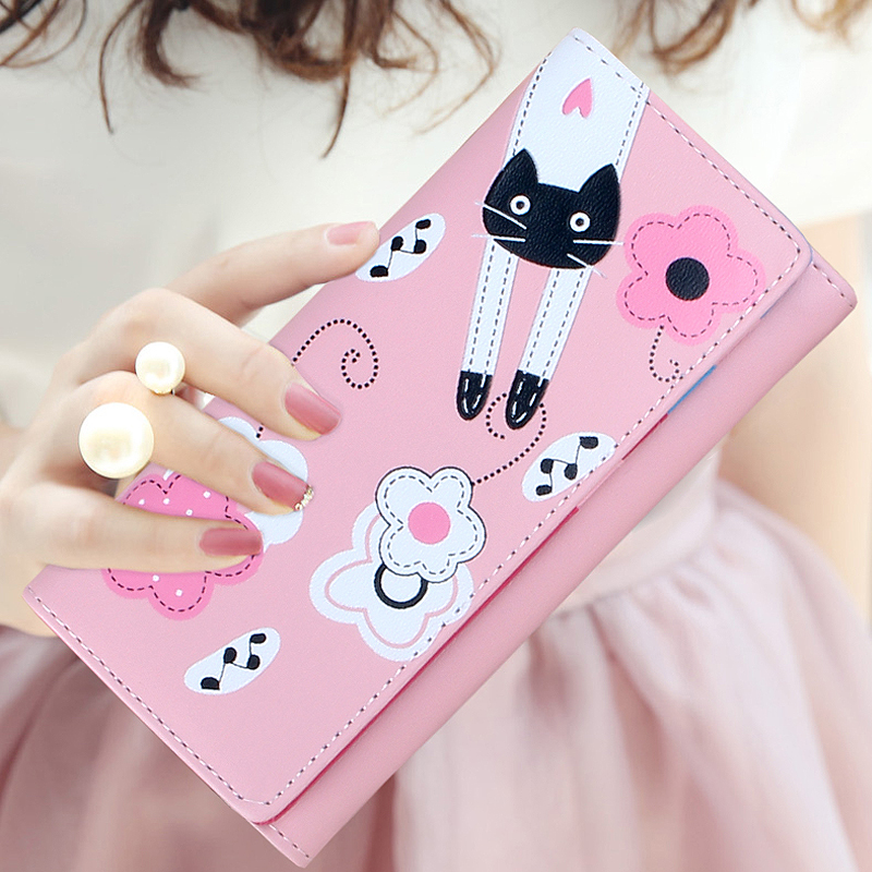Lovely cartoon prints long Wallet Lady mini Zipper Clutch Female Travel card holder bag Coin Cash pocket womens wallet and purse 1