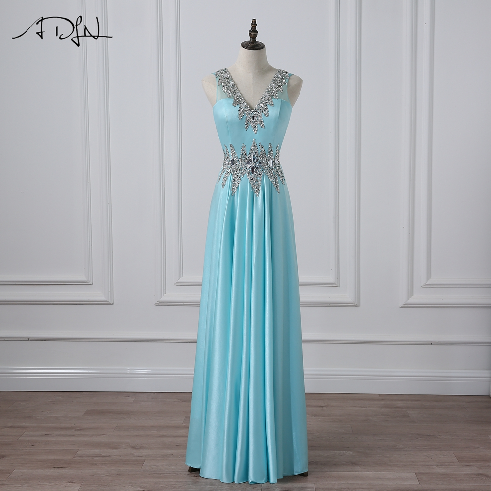 ADLN Sexy   Prom     Dresses   V-neck Sleeveless Beaded Crystal Stones Formal Evening   Dress   Party Gowns