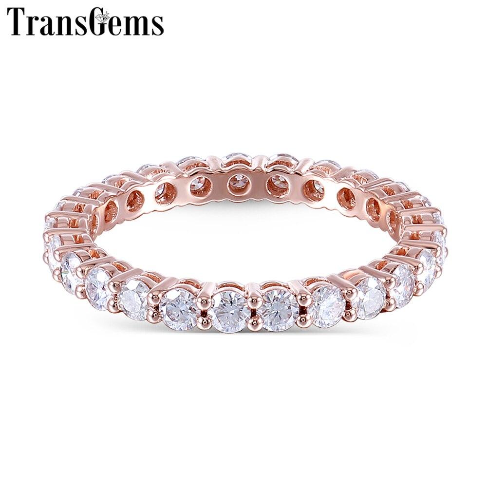 TransGems 14 K 585 Rose Or 1.2CTW à 1.8CTW 2.5mm Moissanite Plein Éternité bague de mariage pour les Femmes Cadeau