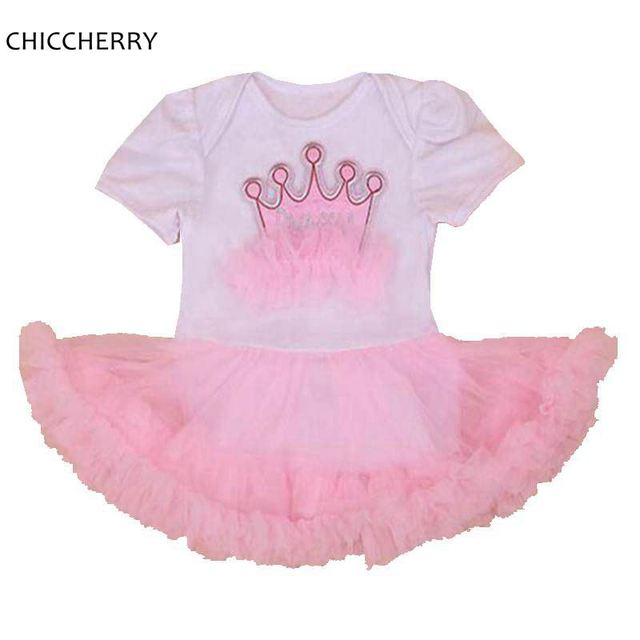 Crown Princess Lace Petti Romper 1 Year Birthday Dress Party Girl O-neck Infant Lace Tutus Vestidos Newborn Baby Girl Clothes
