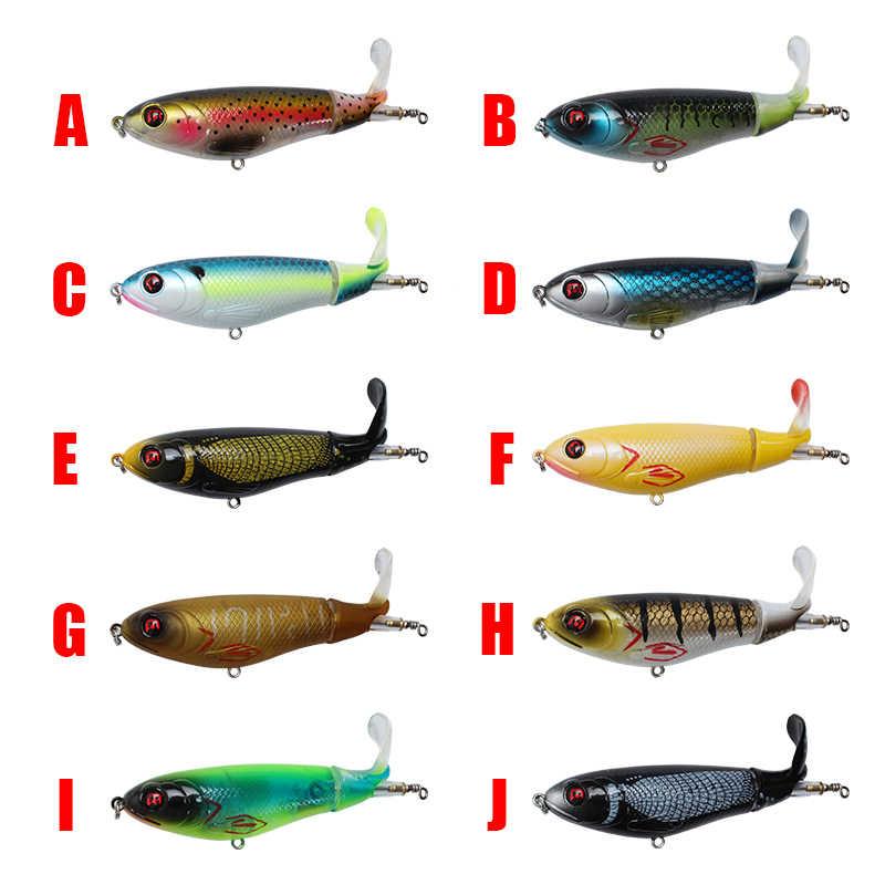 Di rotazione Coda Topwater Wobblers Popper Richiamo di Pesca A Traina Minnow whopper plopper pesce Bionico esche artificiali 17g 10.5 centimetri