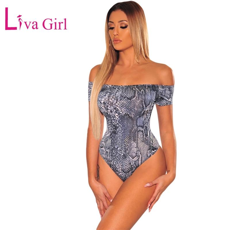 LIVA GIRL Sexy Wild Navy Snake Print Short Sleeve Bodysuit Women Summer Off Shoulder Bodycon   Jumpsuits   Female Fierce Body Tops