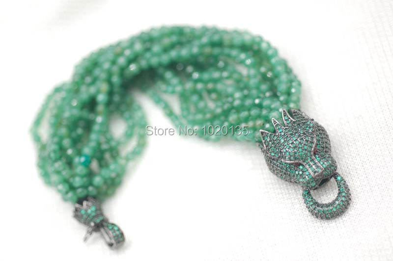 15rows green agates stone beads round faceted bracelet and leopard clasp 8inch FPPJ FPPJ