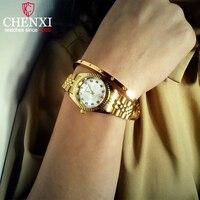 CHENXI Роскошные для женщин часы Дамская мода кварцевые часы для женщин золотой Нержавеющая сталь наручные часы повседневное женский...