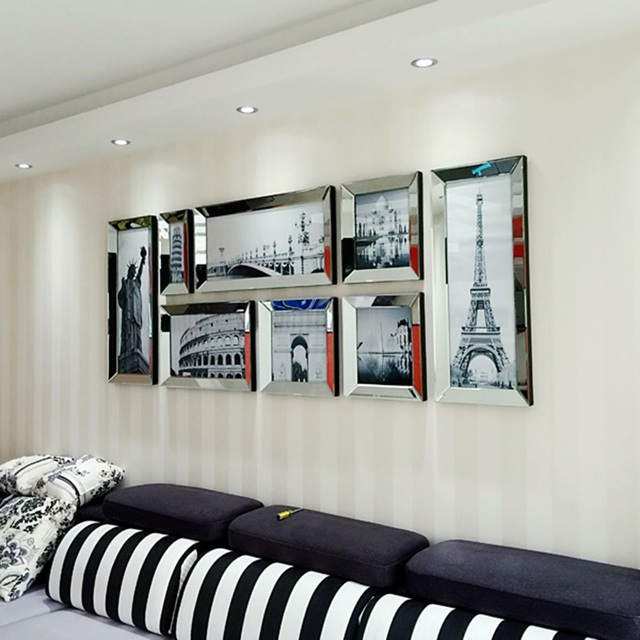 fashion gespiegelte moderne kombination fotorahmen wandbild wand dekoration bilderrahmen multi. Black Bedroom Furniture Sets. Home Design Ideas