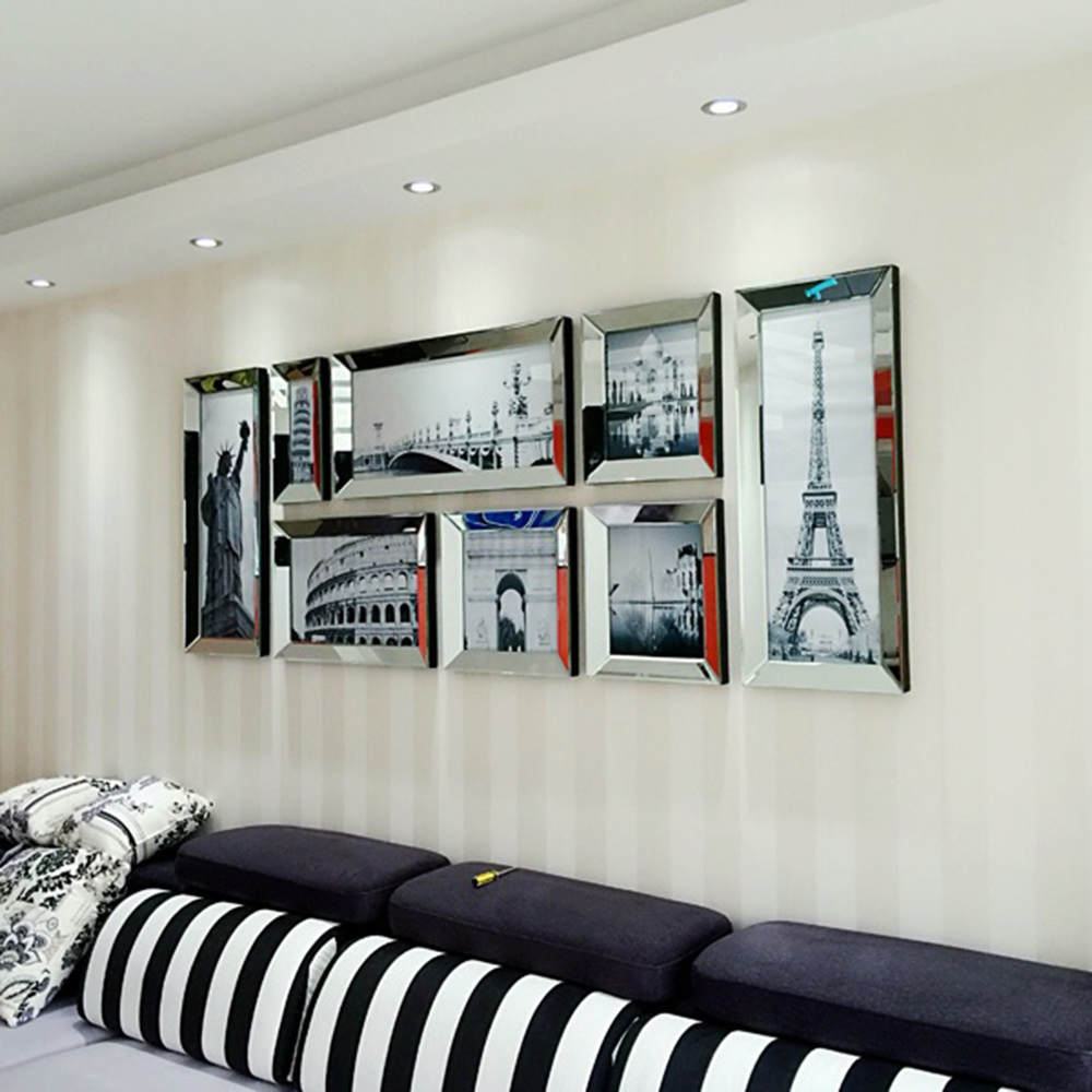 Moda espejo moderno marco de fotos combinación pared mural ...