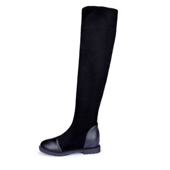 Size 35-43 Autumn Womens high-quality shoes elastic material platform womens boots  2019 new knee boots high boots with height