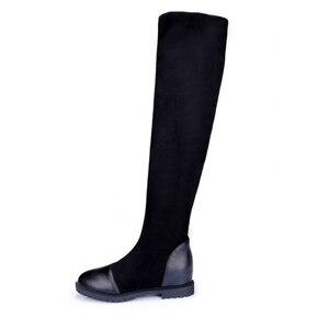 Image 3 - Size 35 43 Herfst vrouwen hoogwaardige schoenen elastische materiaal platform vrouwen laarzen 2019 nieuwe knie laarzen hoge laarzen met hoogte