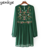 Autumn Vintage Women Floral Embroidery Dress O Neck Long Sleeve Green Dot Mesh Dress Brand Casual
