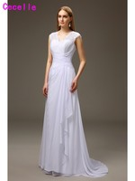 2017 Real Long A line White Cap Sleeves Mother of the Bride Dresses V Neck Illusion Lace Chiffon Bridal Mother's Formal Dresses
