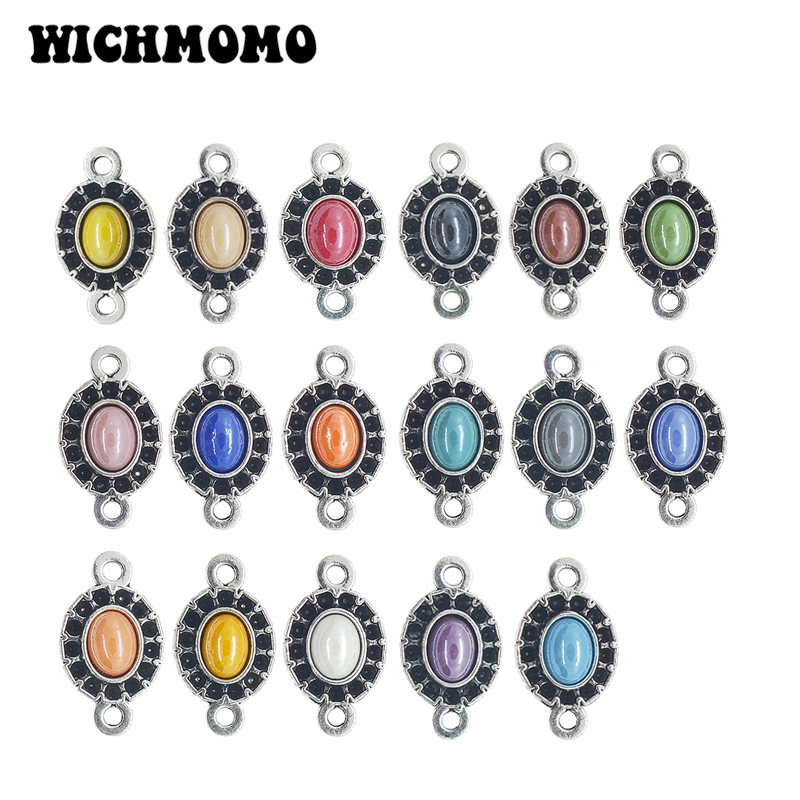 New 10Pieces Zinc Alloy Inlaid Colorful Oval Ceramic Imitation Pearl Charms Connector for Diy Bracelet Earring Jewelry Accessory in Jewelry Findings Components from Jewelry Accessories
