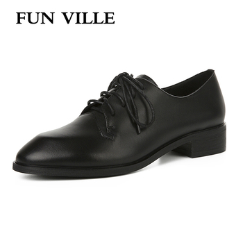 FUN VILLE New Fashion Flat shoes for women Genuine Leather Spring Summer Oxfords shoes Sexy Ladies Casual Shoes Round Toe