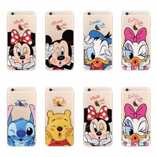 Lovely Minne Duck Stich Pooh Mickey Cartoon Cases For iPhone 5 5S 6 6S SE 7 Plus Trasparente TPU Silicone Cover Fundas Coque