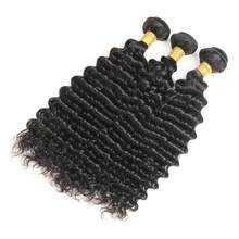 Zing Silky Indian Hair Weave Bundles Deep Wave Human Hair Extensions 3 Bundles Deals Natural Color Non Remy Hair Weave Bundles(China)