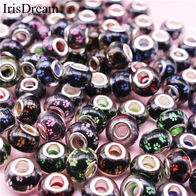 20 pcs Lot Big Hole Footprint Footmark 14*8MM Spacer Bead Plastic Resin Glass Beads For DIY Jewelry Making Fit Pandora Bracelet