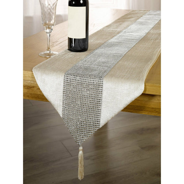 Merveilleux 32*185cm Elegant Table Runner Rhinestone Pattern Bed Runner Table Runners  For Wedding Party Table