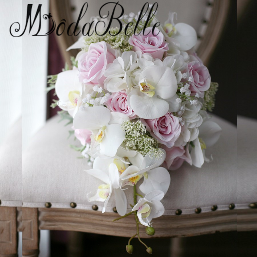 Modabelle Ivory Pink Cascading Bridal Bouquets De Mariage Roses Orchid Artificial Silk Flower