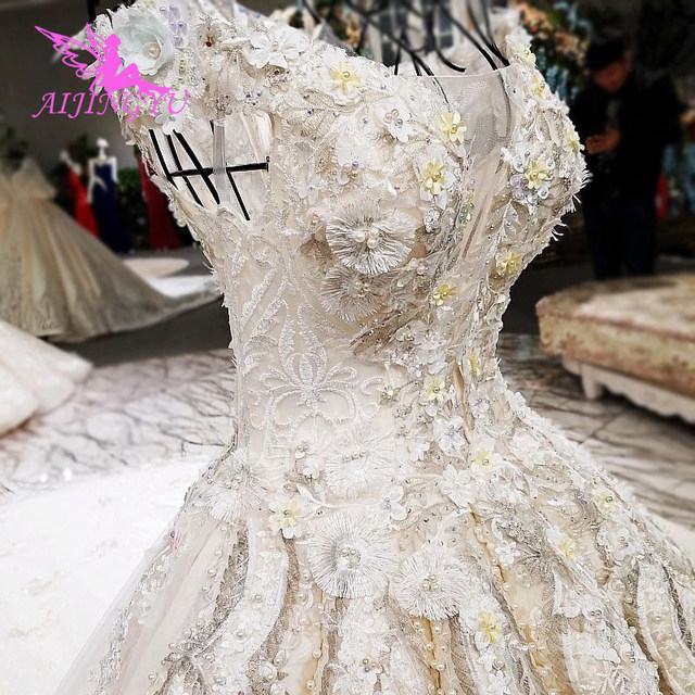 AIJINGYU Wedding Formals Indonesia Bridal With Sleeves Ball Gown 2021 Chinese New Wedding Dress