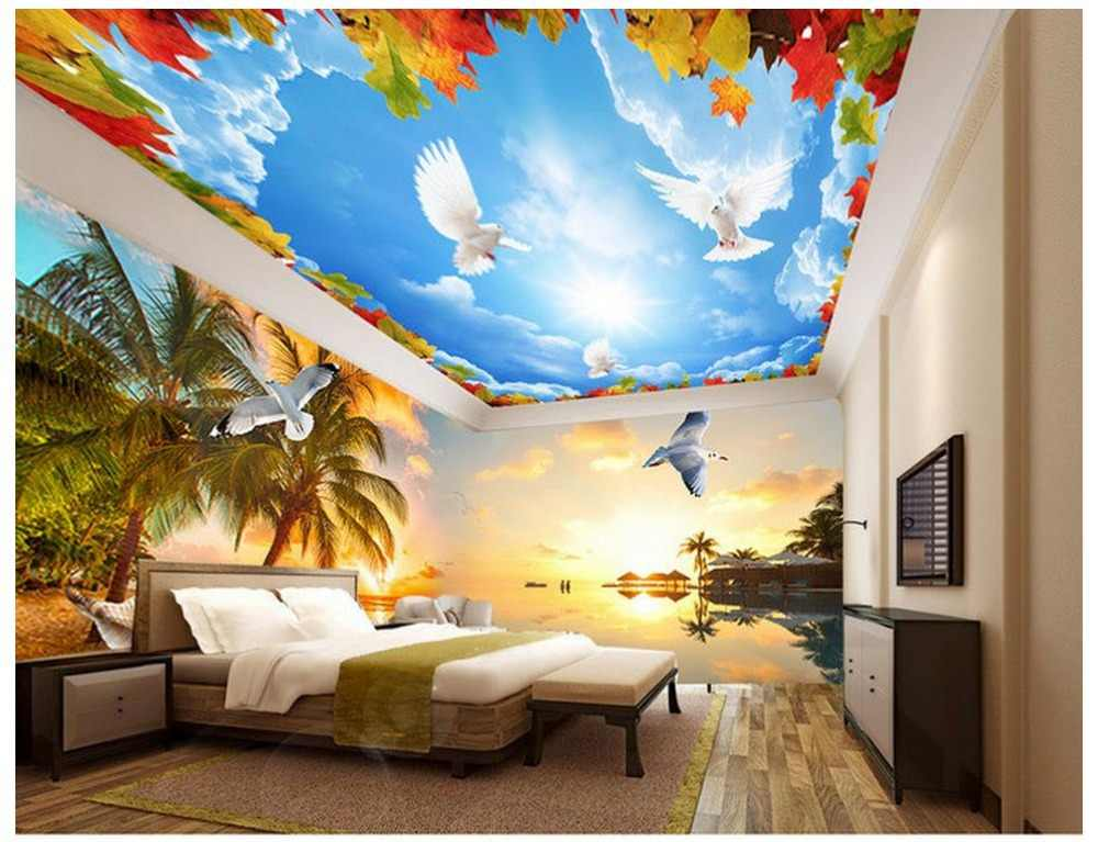 Palm beach island sunset scenery space 3d backdrop 3d ceiling murals wallpaper Home Decoration