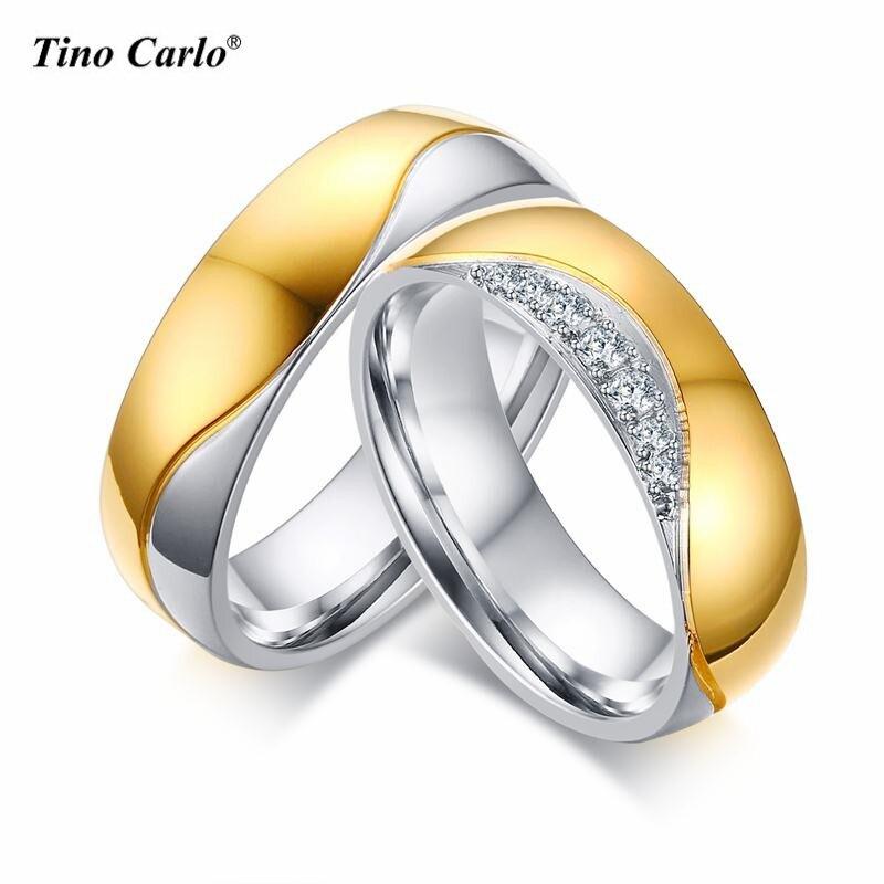 Для мужчин/Ladies 6 мм CZ пару Обручальные кольца Forever Love Нержавеющаясталь золото Two-Tone Wedding обещание кольцо диапазона Элегантный размеры 8 9