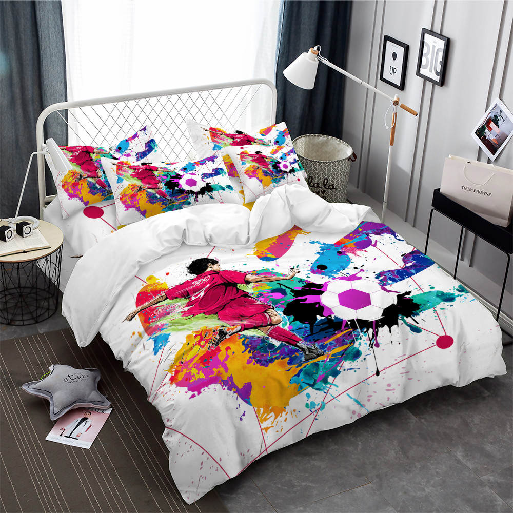 3Pcs Playing Football Bedding Set Colorful Watercolor Hand Duvet Cover Set Sports Design Bedding King Queen Bedclothes D45 in Bedding Sets from Home Garden