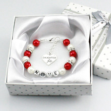 New Personalised Girl Birthday Wedding Gift Charm Bracelet Daughter With Box-red