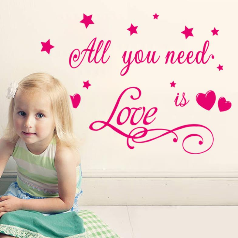Love Is All You Need Quotes Stars Princess Baby Girl Lovers Wall