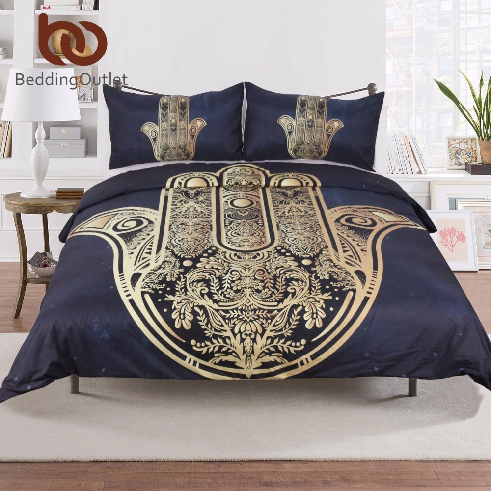 Beddingoutlet Hamsa Hand Duvet Cover With Pillowcase Black Dark Blue Bedding Set Vintage Soft Microfiber Quilt 3pcs In Sets From Home
