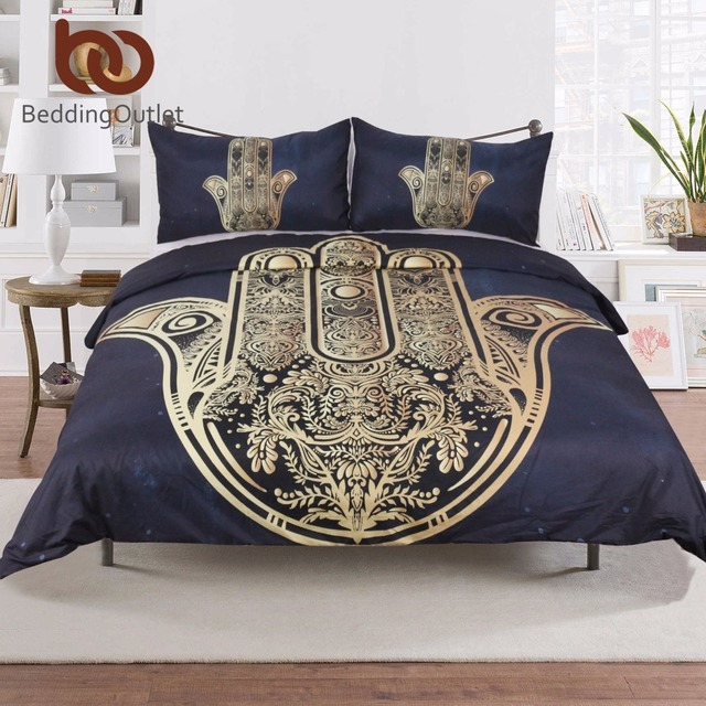 Beddingoutlet Hamsa Hand Duvet Cover With Pillowcase Black Dark Blue