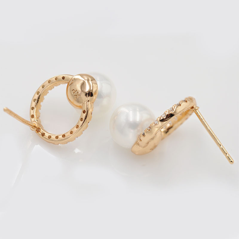 59193567f MxGxFam Smooth Pearl Stud Earrings for Women AAA+ Cubic Zircon Fashion  Jewelry Yellow Gold Color Hot -in Stud Earrings from Jewelry & Accessories  on ...