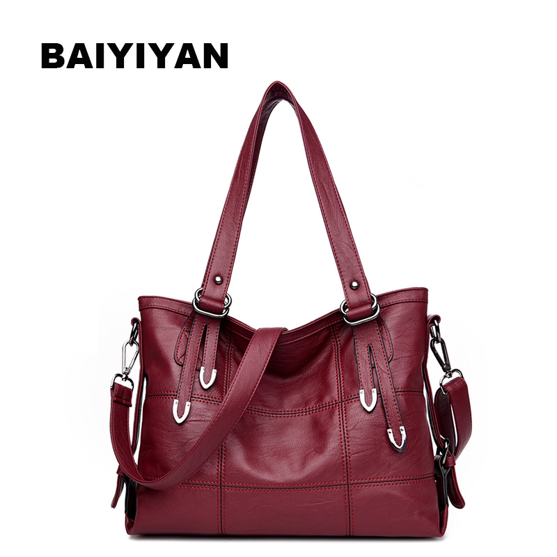 New Luxury Large Handbag Women's Bag Plaid Soft PU Leather Big Casual Tote Bag Ladies Shoulder Bag