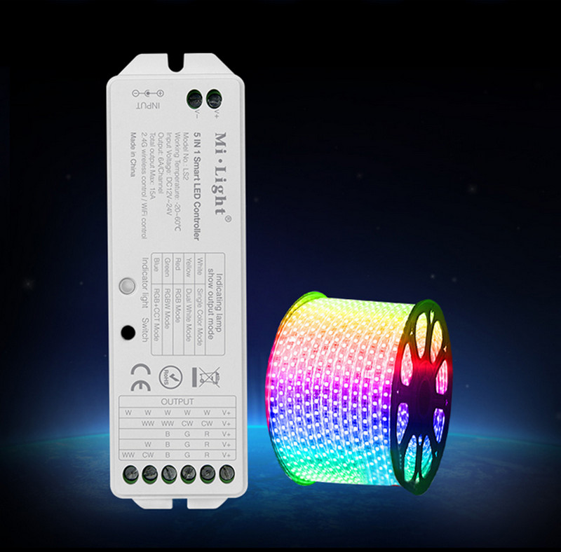 Mi.Light <font><b>LS2</b></font> 2.4G Wireless Control DC12V-24V 15A 5 in 1 Smart LED <font><b>Controller</b></font> for Single Color, CCT, RGB,RGBW,RGB+CCT LED Strip image