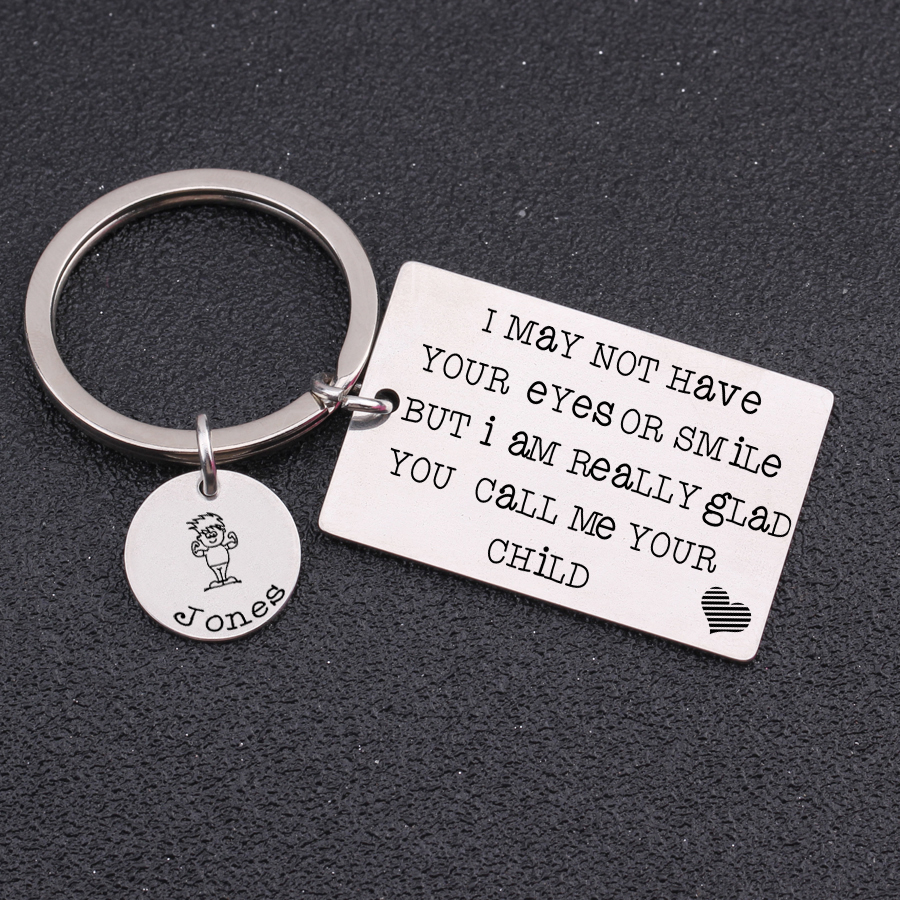 To My Son Close My Eyes Love Mom Keychain Circular Customized Stainless Steel Jewelry & Watches