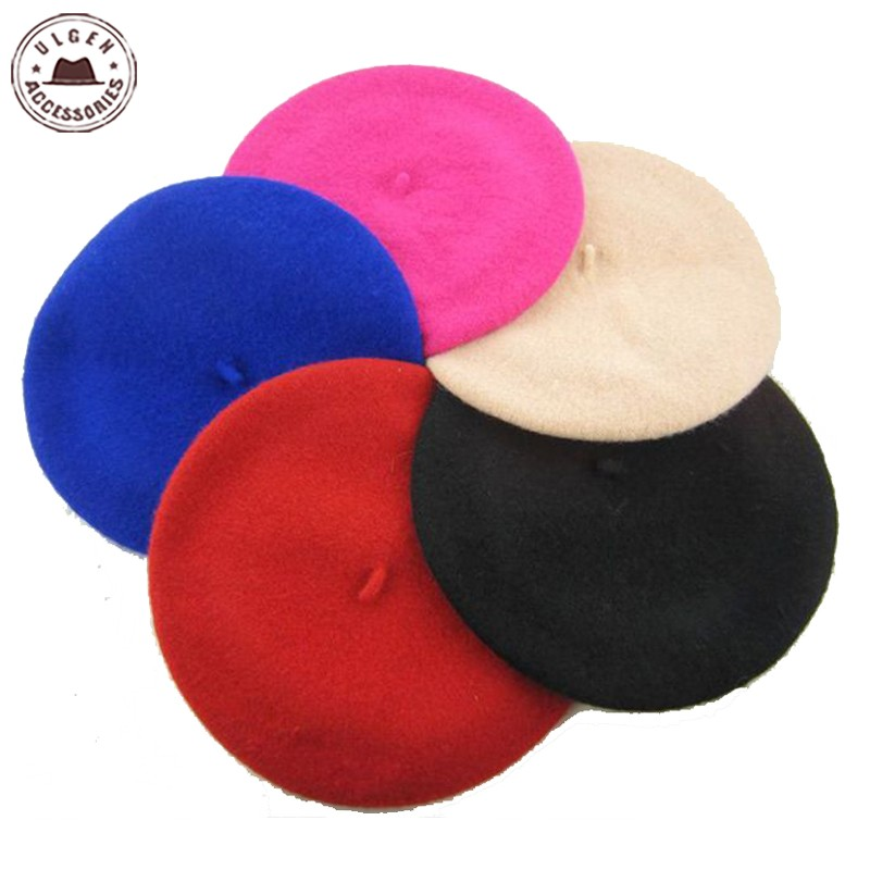 Fashion rainbow new children 100% wool beret kids baby girls beanies winter hat beret cap [HUBK023]