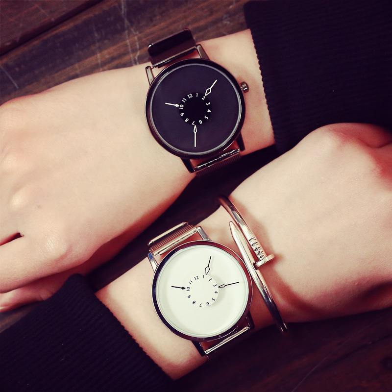Fashion Women Men Quartz Watch Simple Unique Watches Face Design With Steel Mesh Band Lovers&#39 Wristwatches Girl Cloc 1