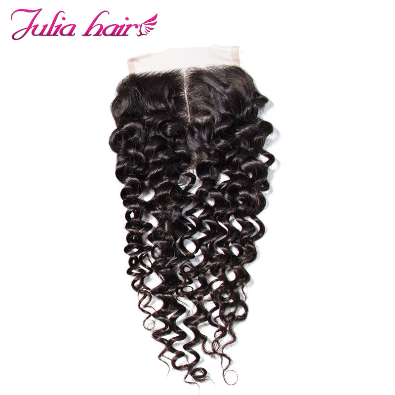 Ali Julia Hair Brazilian Curly Closure Middle Three Free Part 10 to 20 Inches Human Hair