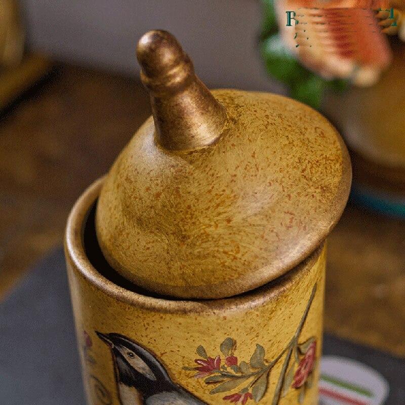 Pot en céramique rétro créatif pots raffinement Rural oiseau et fleur bouteilles de rangement en céramique faire l'ancien beau réservoir de stockage - 4